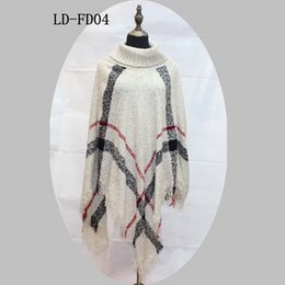 Barato Blusas De Cape-Plaid Poncho Women Tassel Blouse 135 * 135CM Camisola de malha Sweat Wraps Echarpe de malha Tartan Winter Cape Grid Shawl Cardigan Cloak