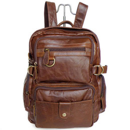 Chinese  Wholesale-Maxwell High Quality Vintage 100% Guarantee Real Genuine Leather Cowhide Unisex Women Men's Backpacks Travel Bags #MW-J7042 manufacturers