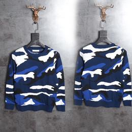 Großhandel 2017 Top qualität Italien herren pullover blau camouflage print hip hop tuch streetwear schwarz 2XL