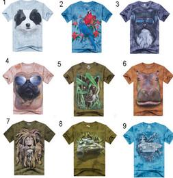 Discount teens summer clothes - Men 3D animal print T-Shirts Tees Creative men's teens cartoon cotton sport punk rock short sleeve t shirt summer b