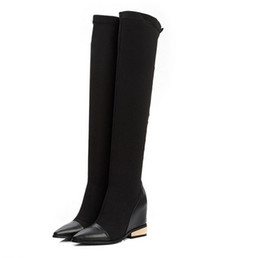 China fashionville*high quality! b075 34 genuine leather stud hidden wedge thigh boots black vogue runway suppliers