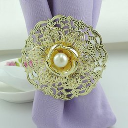 Napkin Holder Metal Canada - 2015 New Gold Metal Lotus Flower Napkin Rings White Pearls napkin rings holder for Hotel Wedding Banquet Table Decoration Accessories