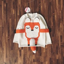 Barato Roupas De Bebê Fox Footed-Novelty Kids 3D Fox Sweater Cute Winter Knit Tops para crianças Unisex Natal Gift Baby Boys Girls Clothes Pullovers