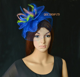 Fascinator Sinamay Bleu Royal Pas Cher-Royal Blue Pink Green Feather Fascinator Veiling Fascinator Kentucky Derby Chapeau sinamay Hat for Wedding.