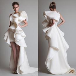 Venta al por mayor de Súper fabuloso Krikor Jabotian Ruffles de lujo de seda alta baja como satén vestidos de noche cremallera espalda corte tren 2017 por encargo vestidos de mujer
