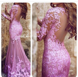 low back mermaid evening dresses Australia - 2019 Sexy Pink V Neck Appliqued Keyhole Low Back Mermaid Design With Long Sleeve Lace Bodycon Evening Dresses Women Gown
