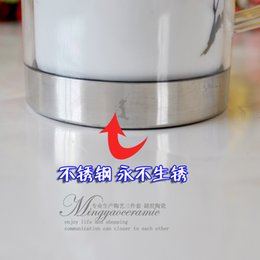 """$enCountryForm.capitalKeyWord Canada - Supply Jingdezhen Ceramic liner stainless steel mug """"fragrance"""" double tea cup with handle 4725"""
