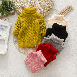1808b287e9be Boys Girls Kids Turtleneck Lovely Solid Color Baby Kids Sweaters Pullover  Soft Warm Autumn Winter Children s Sweater Coats LA551