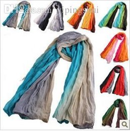 cape scarfs Canada - Wholesale-2015 fluid pleated autumn and winter scarf cape gradient scarf colorant match scarf