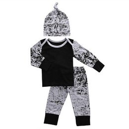China Wholesale- 3PCS Set Autumn Spring Newborn Kids Ink long sleeve set Baby Boys Girls Outfits Clothes T-shirt +Pants Legging+Hat cheap ink clothes suppliers