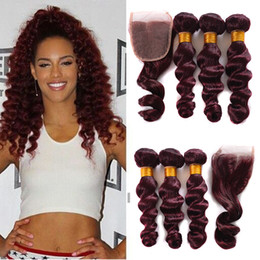 wave hair NZ - Cheapest New Mink 99j Peruvian Loose Wave Hair With 4x4 Closure 3 Bundles with Lace Closure Wine Red 99j Virgin Human Hair Weave