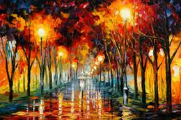$enCountryForm.capitalKeyWord NZ - Free Shipping no frame Canvas Prints Russian Federation Oil Painting street lamp rain Forest path tree chair Bridge river lighting Building