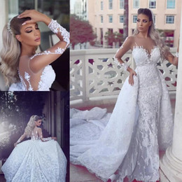 $enCountryForm.capitalKeyWord Australia - Luxury Lace Mermaid Wedding Dresses With Detachable Train Newest Sheer Neck Long Sleeves Bridal Gowns Appliques Back Buttons Vestidos
