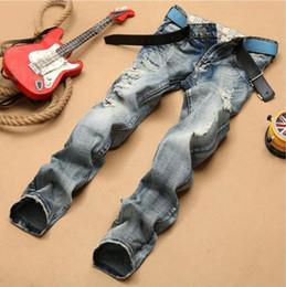 Skinny Jeans For Plus Size Men Canada - Men Distressed Straight Jeans Ripped Skinny Denim Jeans For Mens Hip Hop Casual Cool Plus Size Men Biker Jeans Pants J171105