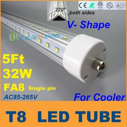 Ce Fluorescent Lighting Canada - 5 Feet FA8 ends V Shape double sides T8 LED Tube 32W 5FT 1.5M For cooler door LED fluorescent lights AC85-265V CE FCC ETL SAA UL