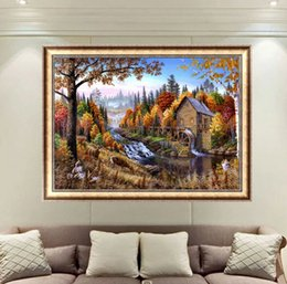Pattern Decor Australia - Forest Cabin Landscape DIY Diamond Paintings Decor Picture Pattern Cross Stitch Diamond Paintings Embroidery Cross Home Decoration Without F