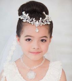 Ingrosso Perle di cristallo di lusso Capi di usura della testa del capretto per il costume del partito Palla ragazza Regali di compleanno Gioielli Accessori per bambini