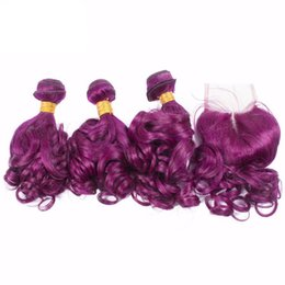 Discount brazilian virgin hair ombre purple - 8A Brazilian Purple Virgin Hair Weave 3 Bundles With Lace Closure Ombre Hair Extensions With Closure 1B Purple Ombre Nat