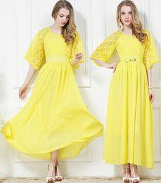 $enCountryForm.capitalKeyWord NZ - Elegant 2018 New Fashion Women Vintage Chiffon Lace Dress Maxi Dresses Bohemian Beach Dress Long Evening Dress Ball Gown