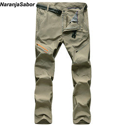 lightweight waterproof pants 2019 - Wholesale- NaranjaSabor 2017 Summer Men's Thin Quick Dry Pants Men Waterproof Breathable Trousers Loose Male Cargo
