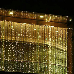 Chinese  3M*3M 300 Leds Window Curtain Icicle Lights String Fairy Light Wedding Party Home Garden Decorations 110V 220V Flash Fairy String Light manufacturers