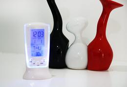 Square Desk Clock Canada - 20PCS New Big Screen Led Digital Alarm Clock Despertador Desk Electronic Watch Temperature Back-light Music Lighting Alarm Clock Gift