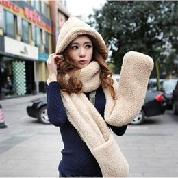 long white gloves cotton 2021 - 230*14cm Fashion Winter Warm Women Scarf Hoodie Gloves Pocket Earflap Hat Long Scarf Shawl Wrap Gloves Sets 9 Colors Fre