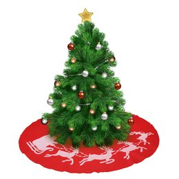Christmas Tree Skirt Decorative Cover With Xmas Elk Red Round Fabric Mat For Decoration 39 Inch Skirts Sale