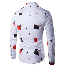 Mens Shirts Lapels Canada - Mens Fashion 2018 Long Sleeved Slim Fit Shirt Casual Tetris Print Button Lapel Shirts Tops
