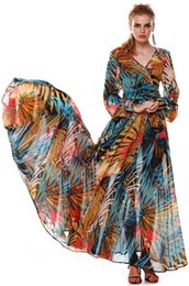 Robes Maxi Orange Pas Cher-New Spring Summer EuroAmerica robes pour femme 2016 Sexy Deep V Neck Print sans dos Robe Vintage Bohemian womens boho Beach Dress