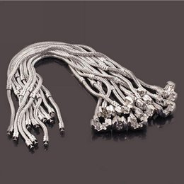 Snake Chain 23cm Canada - Newest fashion 3mm 16cm-23cm 925 logo bracelet chain new 925 sterling silver fashion bangle fit charms beads wholesale silver snake chain