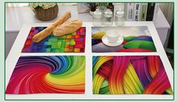 home decoration color 2019 - Colorful elements series printing placemat Multicolor leaves pencil vortex etc modern pattern eat mat Popular home decor