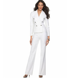 womens business blazers UK - New female elegant pant suits OL formal work wear womens business suits long sleeve double breasted blazer office trousers suit