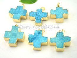$enCountryForm.capitalKeyWord Canada - crystal luxury Crystal Shiny 5pcs 30x30mm Druzy Quartz Pendant Beads in Blue Color, Cross shape Gold plated Drusy Crystal Druzy Gem stone Pe