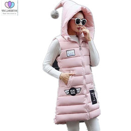 women down hooded vests Australia - 2017 Winter New Korean Slim Hooded Medium long Down cotton vest Fashion Casual Thick Warm Large size Women Cotton jacket AB106