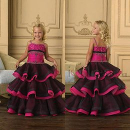 Robes De Bal Noir Et Rose Pas Cher-Sweet Kids Party Tulle Sans manches Flower Girls 'Beaded robe de bal Longueur de plancher Little Hot Pink et noir 2014 Glitz Girls Dresses Pageant