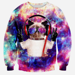 984cf509b w1216 Alisister 2015 new fashion men women 3D sweatshirt print Listening to  music cats clothing Harajuku galaxy space cat hoodie tops