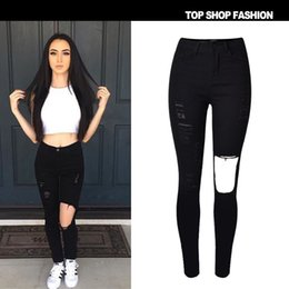 Push Button Fashion Canada - 2016 Hot High Elastic Hole Women Jeans High Waist Slim Thin Black Fashion Ripped Jeans Women Push Up Sexy Hip Pantalon Femme