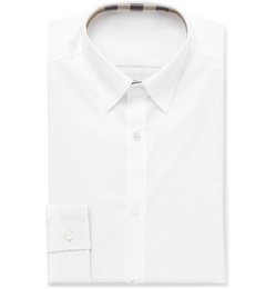 Popeline Blanc Pas Cher-Nouveau Mode Hommes Blanc Slim-Fit Stretch-Coton Popeline Chemise Solide Slim Fit Casual Mâle Social Dress Shirt À Manches Longues Importé Britannique Style