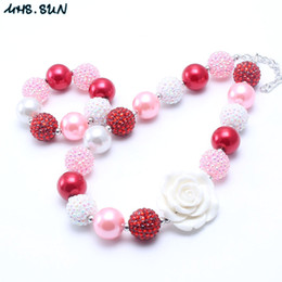 $enCountryForm.capitalKeyWord NZ - MHS.SUN Red+Pink Color Chunky Necklace&Bracelet Set Fashion White Flower Beads Children Girl Bubblegum Chunky Bead Necklace Jewelry Set