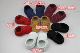 $enCountryForm.capitalKeyWord Canada - 28pairs fedex UPS baby suede Genuine Cow leather shoes moccasins soft fringe moccs 6color moccasins first walker Anti-slip toddlers shoes
