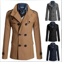 Großhandel Freies Verschiffen HEISSER Art- und Weisemänner beiläufiger Mantel-Winter-Trenchcoat-Mantel-lange Jacke