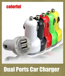 usb power port for car 2019 - 2 ports usb charger car charger dual interface colorful 2.1A Bullet auto power adapter plug in lighter jack for universa