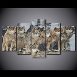 Multi Panel Canvas Prints Australia - 5 Panel Framed HD Printed Brown Wolf Group Poster Canvas Oil Painting Wall Pictures For Living Room