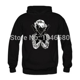 Mode De Tatouage Croisé Pas Cher-Gros-hommes nouveaux de la mode d'arrivée Hoodies MARILYN MONROE Bandana Avec Crossed GUNS fans de TATOUAGE mens hoodies Hoody conception print Fleece