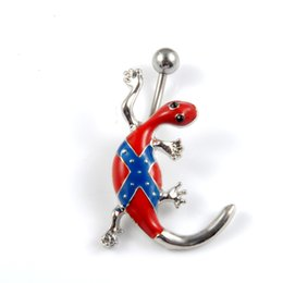 Wholesale Allergy free L Surgical Stainless Steel Rebel Flag Gecko Belly Ring Confederate Flag Blue Red Navel Dance Ring Chain for Ladies