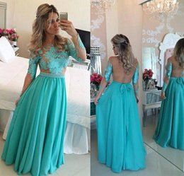Barato Vestidos De Rendas Barato Para Mulheres-Lace Appliques Formal Evening Dresses Long Sleeves backless Andar Comprimento 2017 Cheap Women Party Gowns Prom Wear Fairy Tale Style Custom Made