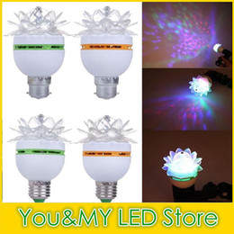 Chinese  50Pcs Hot Items Colorful Lotus Flower 3W E27 LED RGB Auto Rotating Bulb Stage Light Christmas Xmas Party Lamp Bar Lights High Quality manufacturers