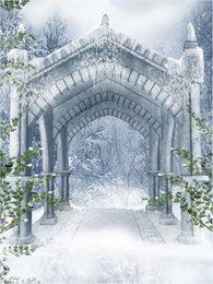 Fondali all'aperto di fotografia di inverno neve scenografia vinile Vintage Pavilion Stone White Flower Garden Garden Studio Background