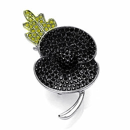 Flower Brooch Black Gold Canada - Fashion Rhodium Silver Plated Black Crystal Rhinestone Leaf Flower Poppy Brooches and Pins Remembrance Day Gift